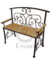 Лавка ритуальная со спинкой ковка дерево 20