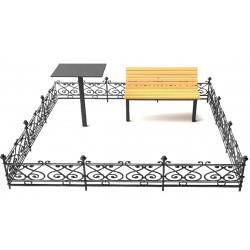 Металлические оградки, столы, лавки
